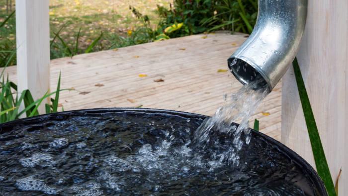 Regenwasser wird im Garten in einer Regentonne gesammelt
